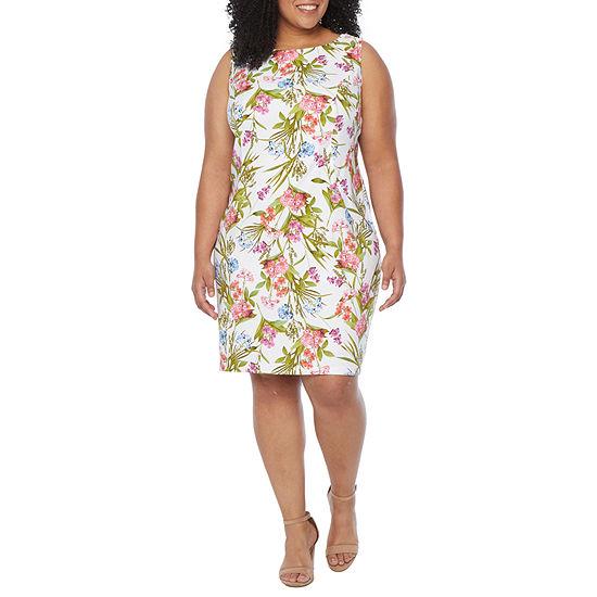 Alyx-Plus Sleeveless Floral Sheath Dress