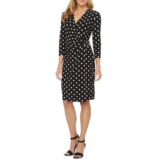 Black Label by Evan-Picone 3/4 Sleeve Dots Wrap Dress