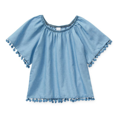 Arizona Little & Big Girls Scoop Neck Short Sleeve Blouse