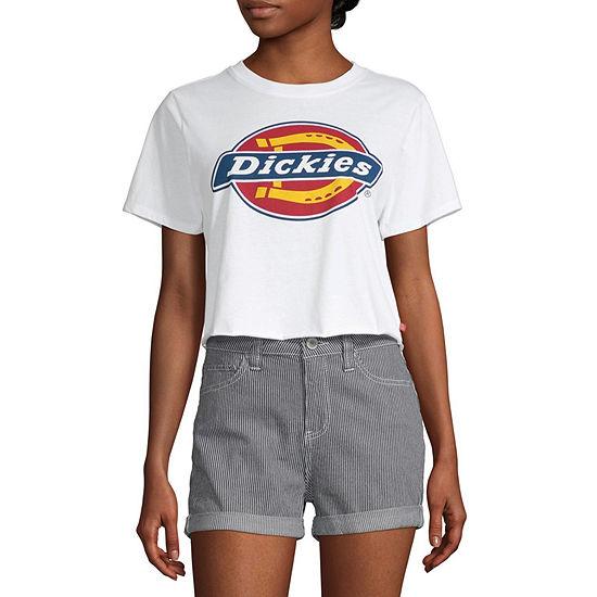Dickies Womens Crew Neck Short Sleeve Crop Top-Juniors