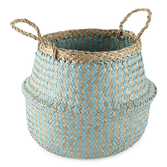 JCPenney Home Small Aqua Decorative Basket
