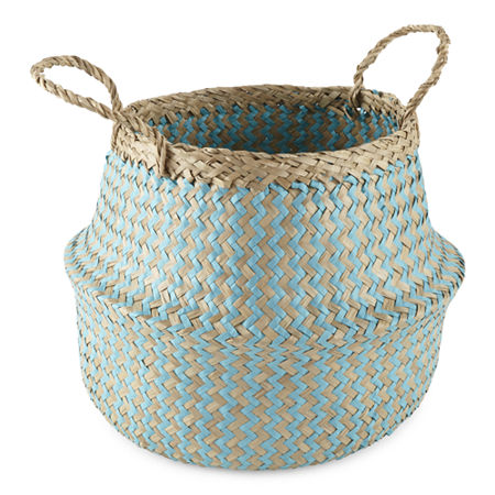 JCPenney Home Small Aqua Decorative Basket, One Size , White