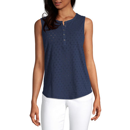 Liz Claiborne Womens Crew Neck Sleeveless Henley Shirt, Medium , Blue