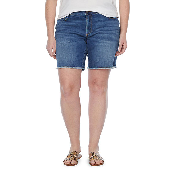 "a.n.a-Plus Womens Mid Rise 8"" Denim Short"