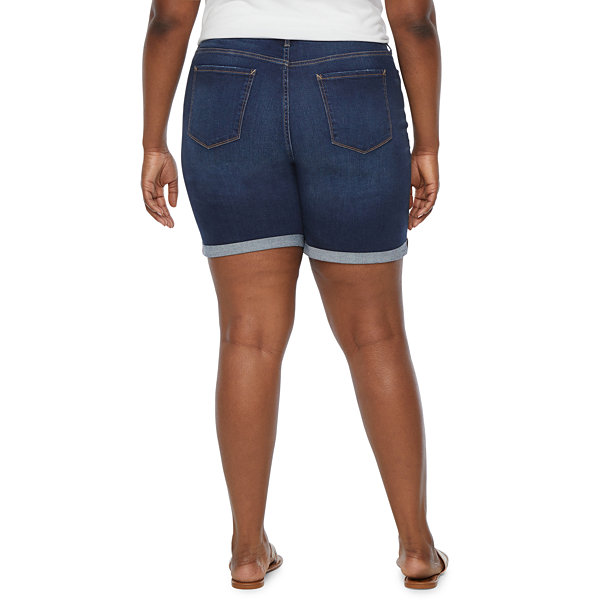"a.n.a Womens Mid Rise 8"" Denim Short - Plus"