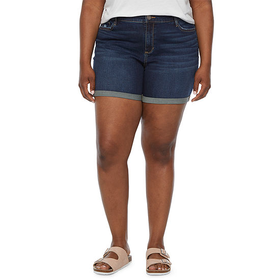 "a.n.a Womens Mid Rise 6"" Denim Short - Plus"