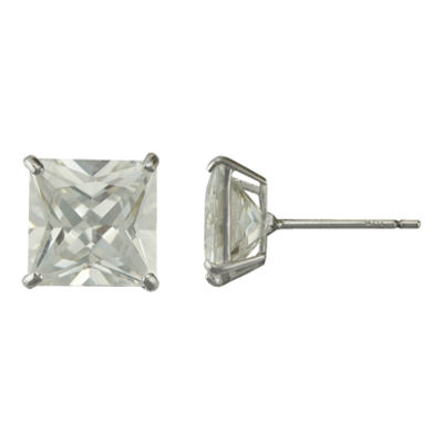 Square Cubic Zirconia Stud Earrings 14K White Gold
