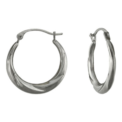 14K White Gold Swirl Hoop Earrings