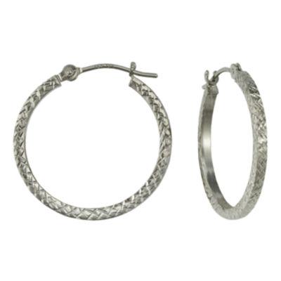 14K Gold Square-Cut Hoop Earrings