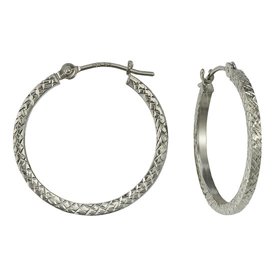 14K Gold Square-Cut Hoop Earrings