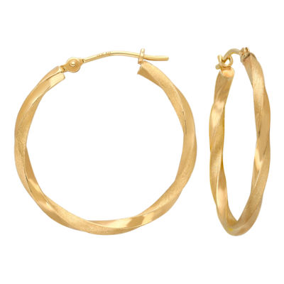 14K Gold Square-Twist Hoop Earrings 25mm