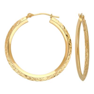 14K Gold Star-Cut Hoop Earrings
