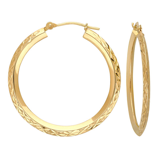 14k gold star cut hoop earrings