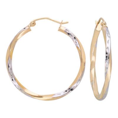 10K Gold Two-Tone Narrow Twisted Hoop Earrings