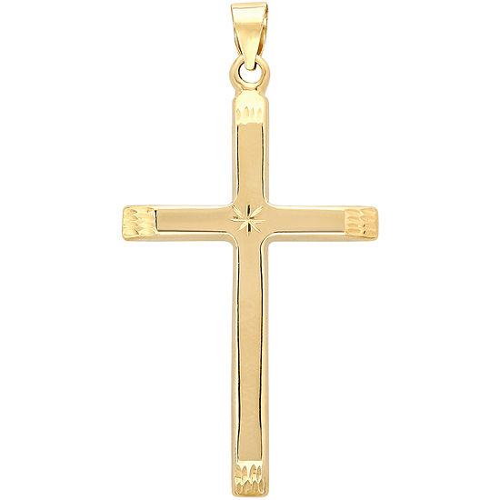 14k Yellow Gold Star Detail Cross Charm