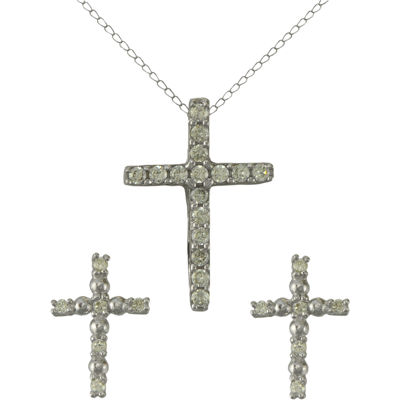 Girls Sterling Silver Cubic Zirconia Cross Pendant Necklace & Earring Set