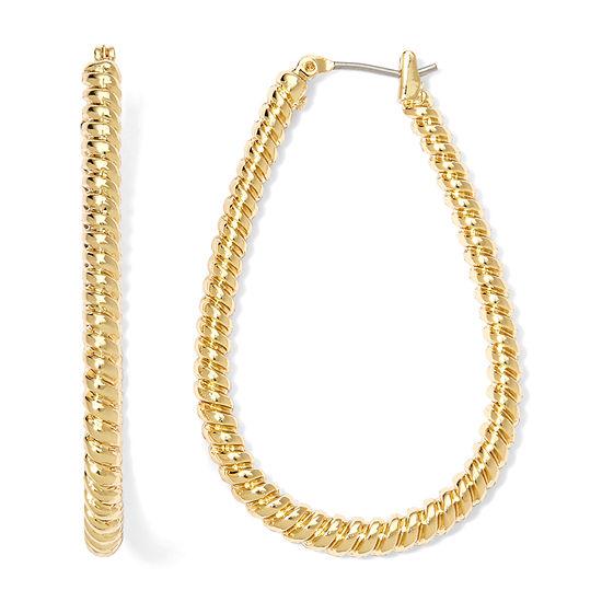 Monet Gold Tone Textured Rope Hoop Earrings