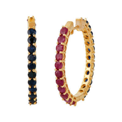 LIMITED QUANTITIES  Lead Glass-Filled Ruby and Genuine Blue Sapphire Hoop Earrings