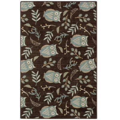 Owl Botanical Rectangular Rug