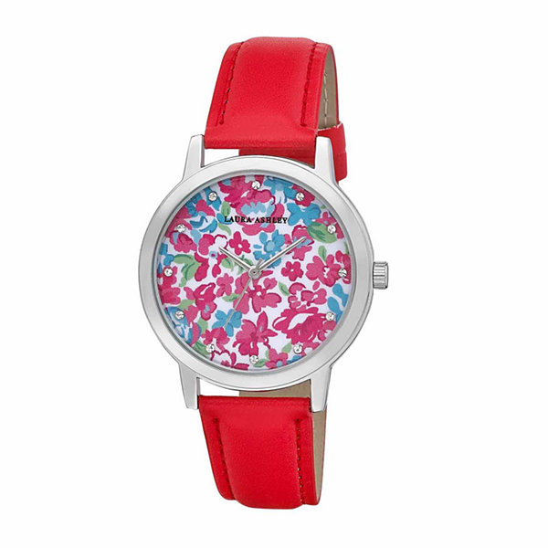 Laura Ashley Womens Floral Print Dial Red Strap Watch-LA31022RD