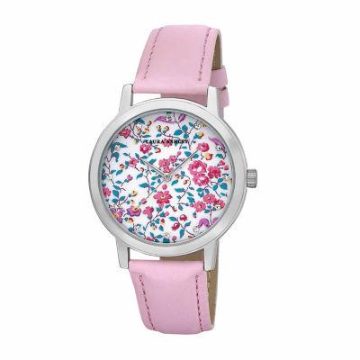 Laura Ashley Womens Floral Print Dial Pink Strap Watch-LA31022PK