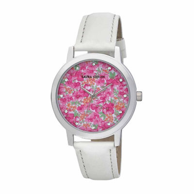 Laura Ashley Womens Floral Print Dial White Strap Watch-LA31022WT