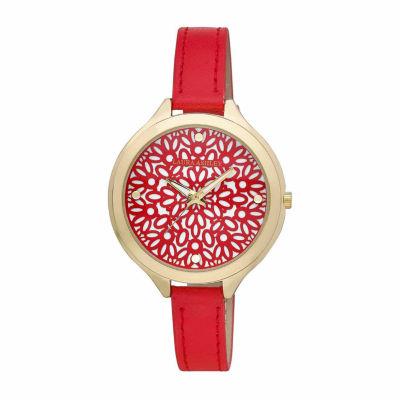 Laura Ashley Womens Geo Print Dial Red Strap Watch-La31023yg