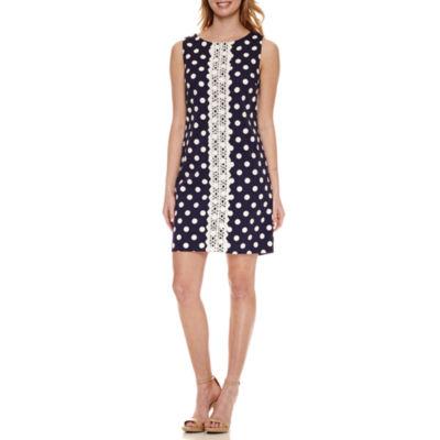 R & K Originals Sleeveless Dots Sheath Dress