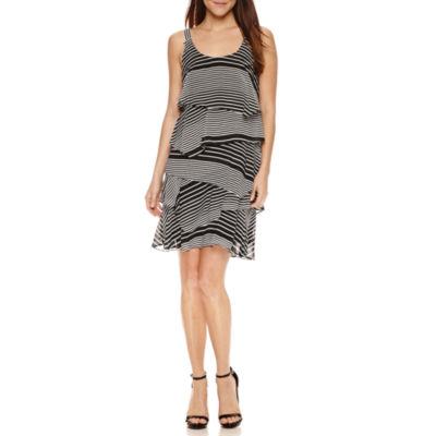 Robbie Bee Sleeveless Stripe A-Line Dress-Petites