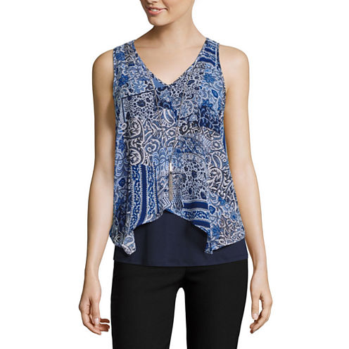 by&by Sleeveless V Neck Woven Patchwork Blouse-Juniors