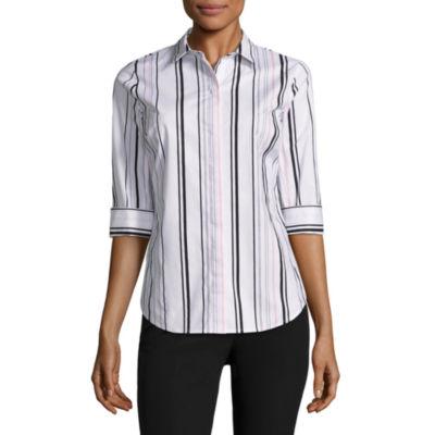 Worthington Elbow Sleeve Stripe Button-Front Shirt-Petites