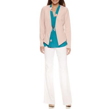 jcpenney.com | Worthington Long-Sleeve Hi-Lo Blazer, Sleeveless V Neck Blouse, and Modern Fit Trouser Pants