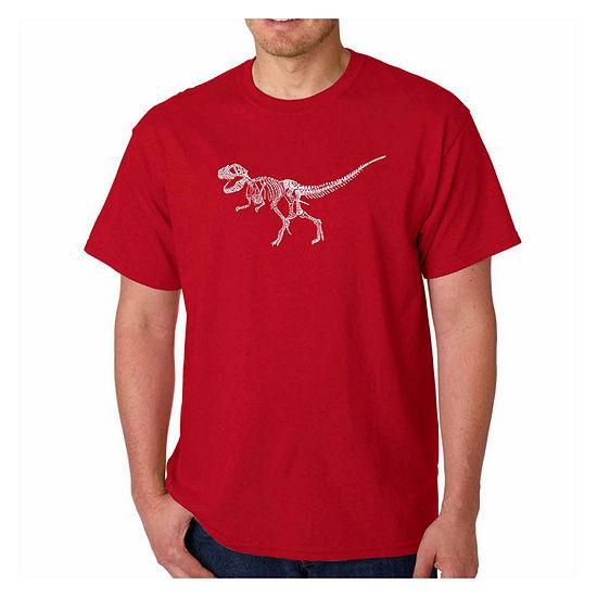 Los Angeles Pop Art Dinosaur Short Sleeve Word ArtT-Shirt-Men's Big and Tall