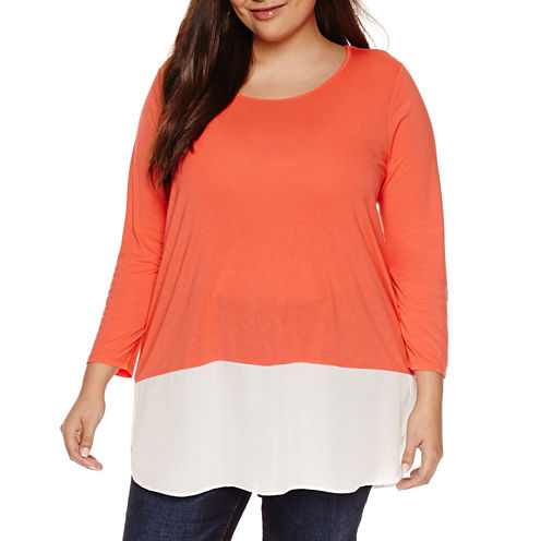 a.n.a 3/4 Sleeve V Neck Stripe T-Shirt-Womens Plus
