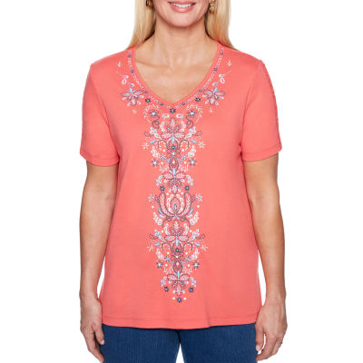 Alfred Dunner Sun City Short Sleeve V Neck T-Shirt-Womens