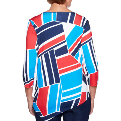 Alfred Dunner Americas Cup 3/4 Sleeve Keyhole Neck Geometric T-Shirt-Womens