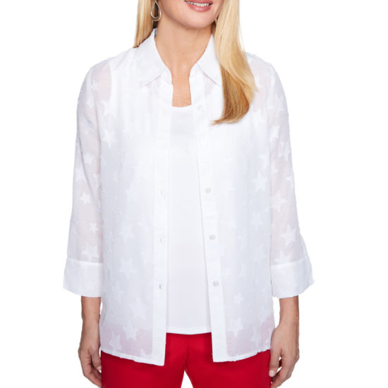 Alfred Dunner Americas Cup 3/4 Sleeve Embellished Button-Front Shirt