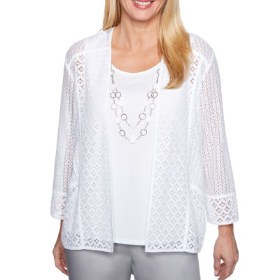 Alfred Dunner Charleston 3/4 Sleeve Crew Neck Woven Blouse