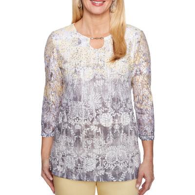Alfred Dunner® Charleston 3/4 Sleeve Split Crew Neck T-Shirt - Womens