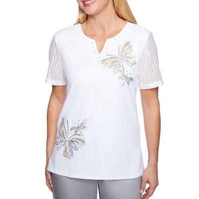 Alfred Dunner Charleston Short Sleeve Split Crew Neck T-Shirt-Womens