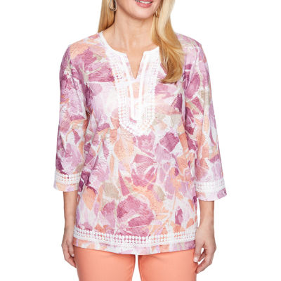 Alfred Dunner Los Cabos 3/4 Sleeve Split Crew Neck T-Shirt-Womens