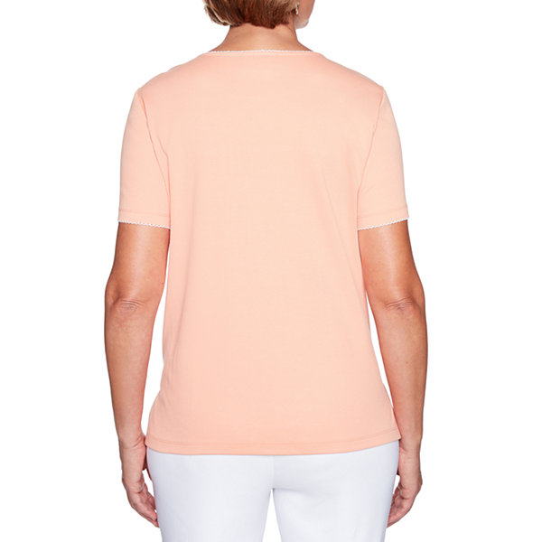 Alfred Dunner Los Cabos Short Sleeve Crew Neck T-Shirt-Womens