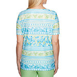 Alfred Dunner Turks And Caicos Short Sleeve Split Crew Neck T-Shirt-Womens