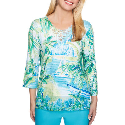 Alfred Dunner Turks And Caicos 3/4 Sleeve Scenic T-Shirt-Womens
