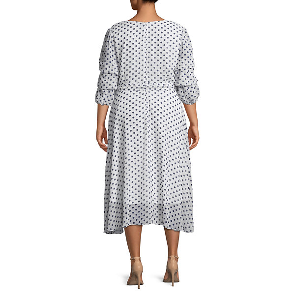 Danny & Nicole 3/4 Sleeve Polka Dot Fit & Flare Dress - Plus