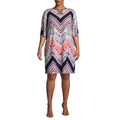 Studio 1 3/4 Sleeve Chevron Print Shift Dress - Plus