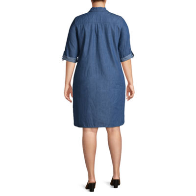 Luxology Short Sleeve Shirt Dress - Plus