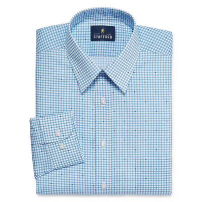 Stafford Travel Performance  Super Shirt Mens Point Collar Long Sleeve Wrinkle Free Dress Shirt