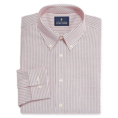 Stafford Travel Wrinkle-Free Stretch Oxford Long Sleeve Oxford Stripe Dress Shirt