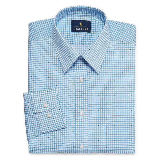 Stafford Travel Performance  Super Shirt Big And Tall Long Sleeve Broadcloth Grid Dress Shirt